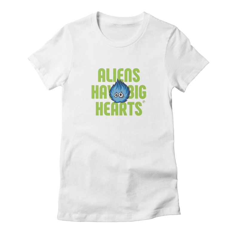 Aliens have big hearts. Women's Fitted T-Shirt by Funked