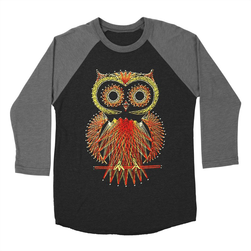String Art Owl Men's Baseball Triblend T-Shirt by funkymojo's Artist Shop