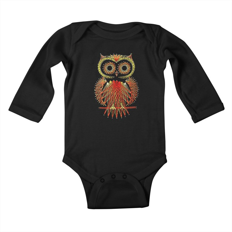 String Art Owl Kids Baby Longsleeve Bodysuit by funkymojo's Artist Shop