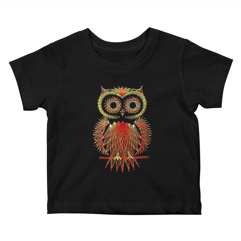 String Art Owl Kids Baby T-Shirt by funkymojo's Artist Shop