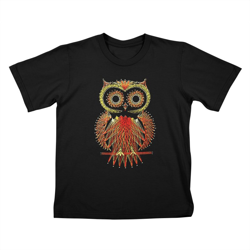 String Art Owl Kids T-Shirt by funkymojo's Artist Shop