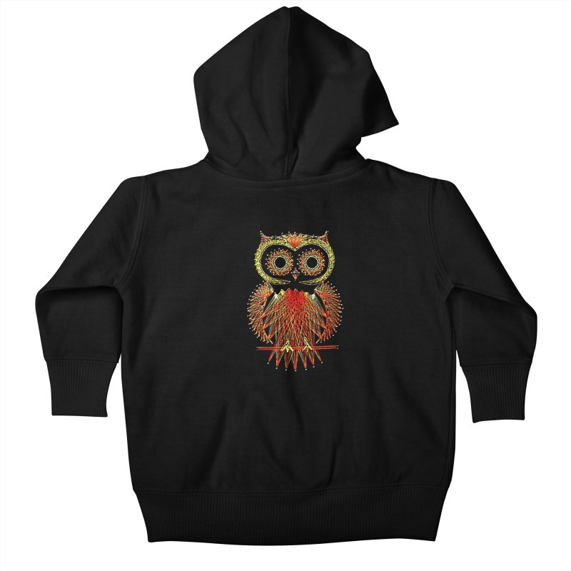 String Art Owl Kids Baby Zip-Up Hoody by funkymojo's Artist Shop