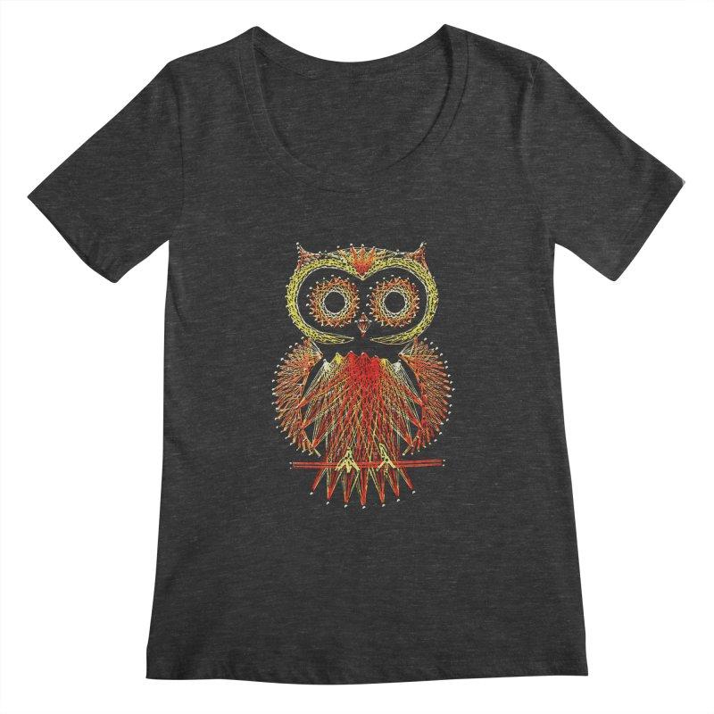 String Art Owl Women's Scoopneck by funkymojo's Artist Shop