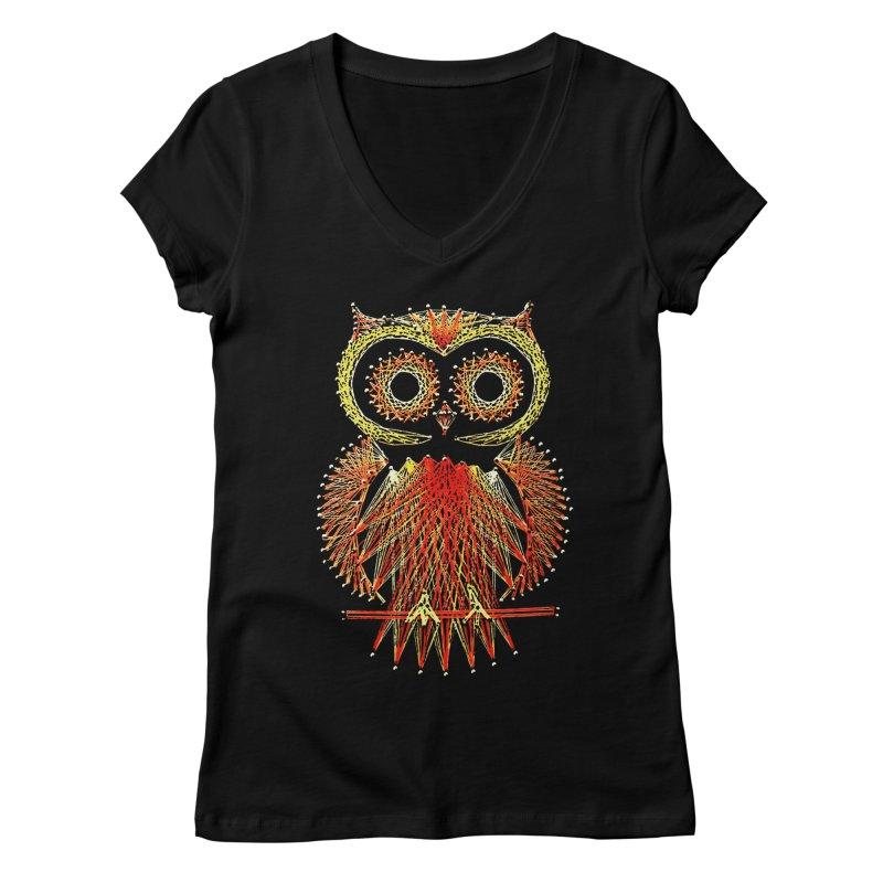 String Art Owl Women's V-Neck by funkymojo's Artist Shop