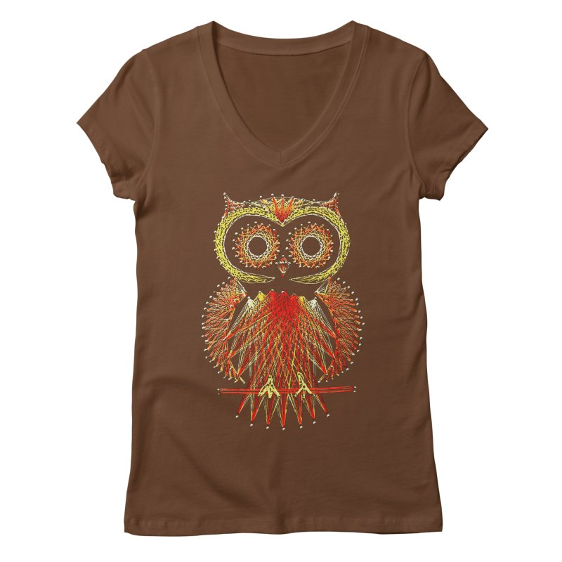 String Art Owl Women's V-Neck by funkymojo's Artist Shop