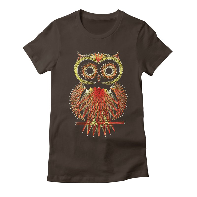 String Art Owl Women's Fitted T-Shirt by funkymojo's Artist Shop