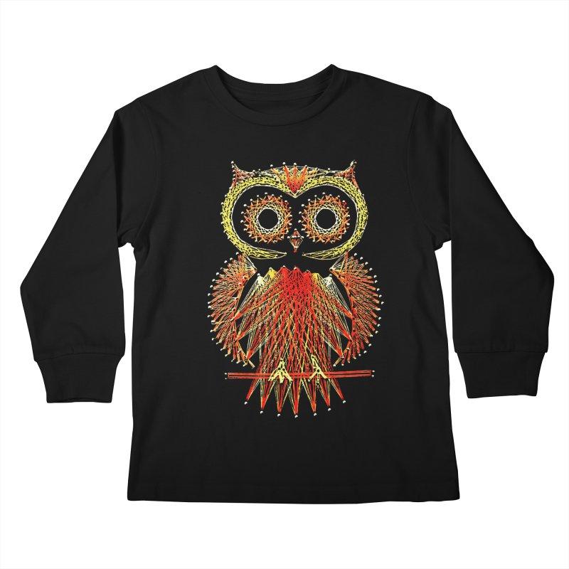 String Art Owl Kids Longsleeve T-Shirt by funkymojo's Artist Shop