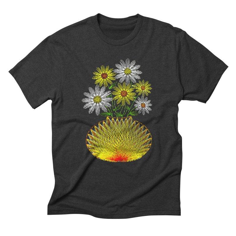 String Art Flowers Men's Triblend T-shirt by funkymojo's Artist Shop
