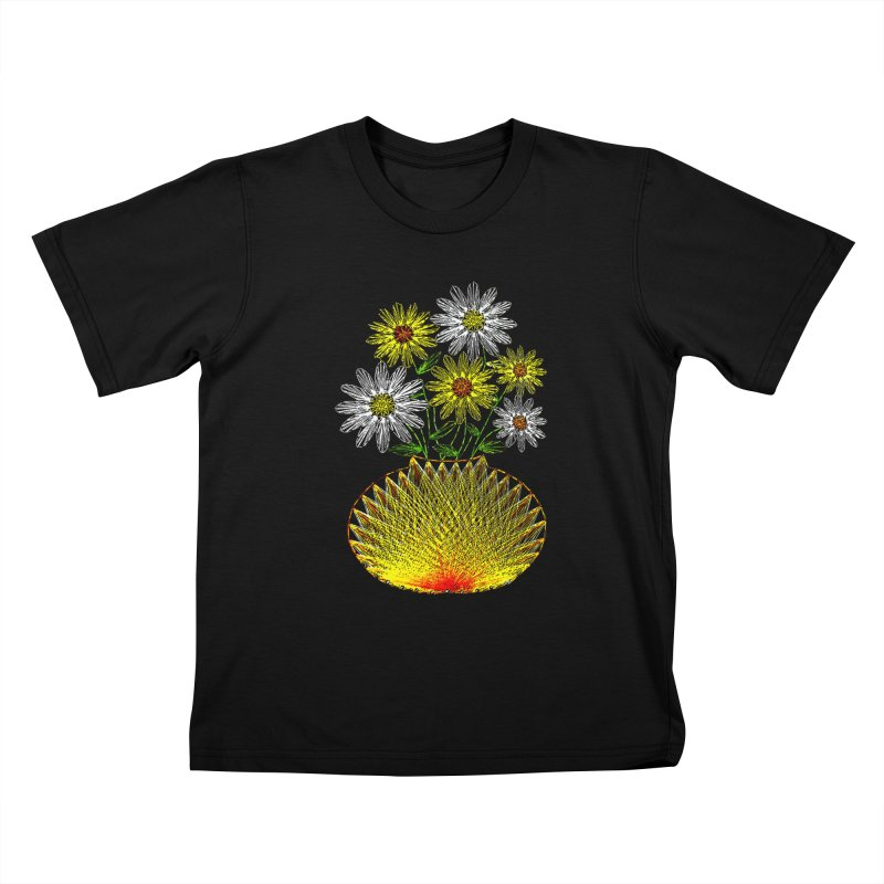 String Art Flowers Kids T-Shirt by funkymojo's Artist Shop