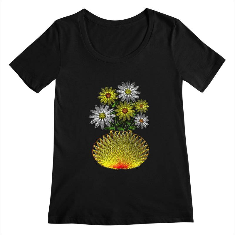 String Art Flowers Women's Scoopneck by funkymojo's Artist Shop