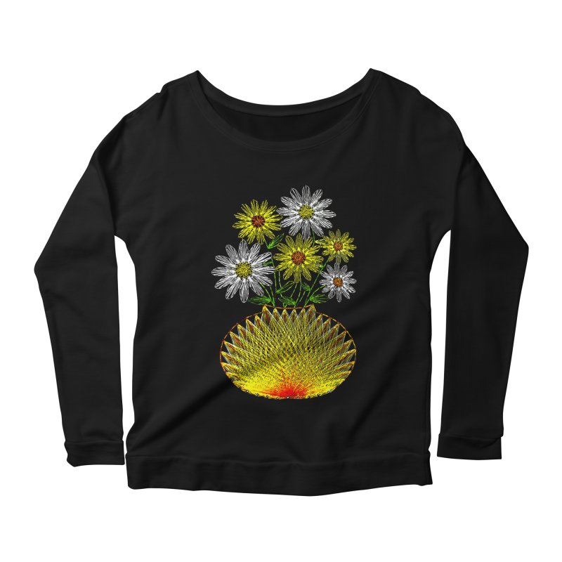 String Art Flowers Women's Longsleeve Scoopneck  by funkymojo's Artist Shop
