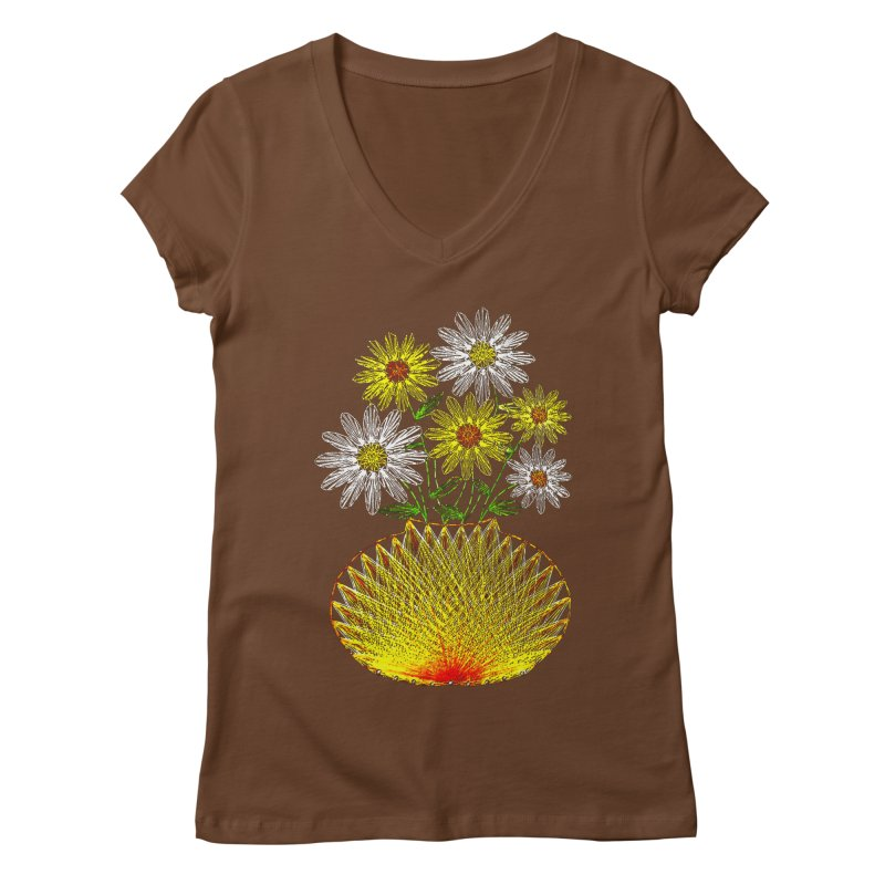 String Art Flowers Women's V-Neck by funkymojo's Artist Shop