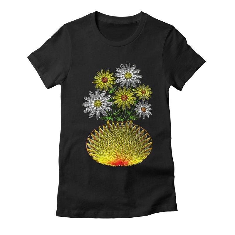 String Art Flowers Women's Fitted T-Shirt by funkymojo's Artist Shop
