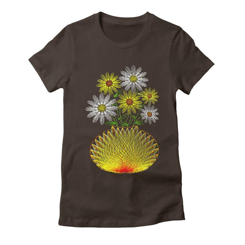 String Art Flowers Women's Fitted T-Shirt by funkymojo's Artist Shop