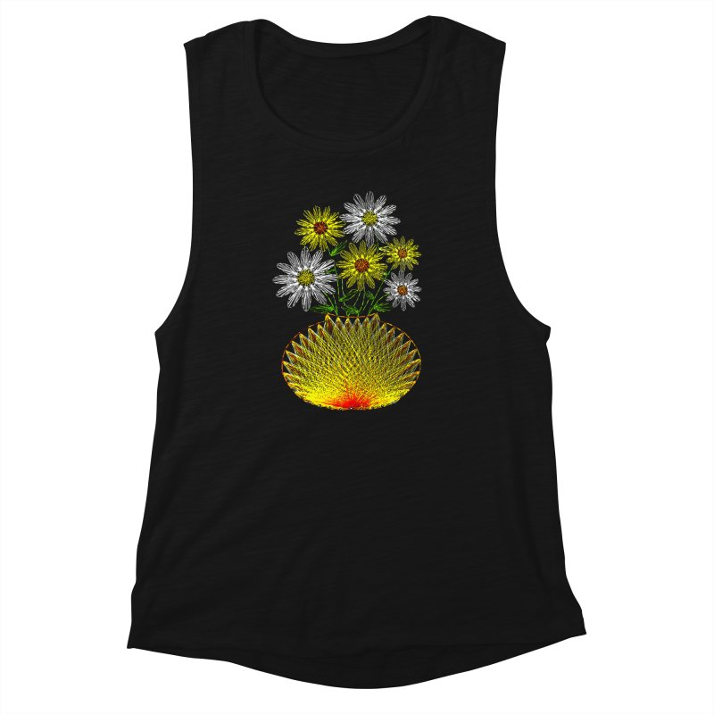 String Art Flowers Women's Muscle Tank by funkymojo's Artist Shop