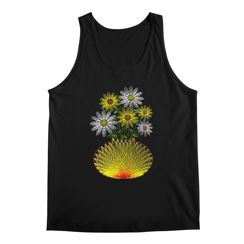 String Art Flowers Men's Tank by funkymojo's Artist Shop