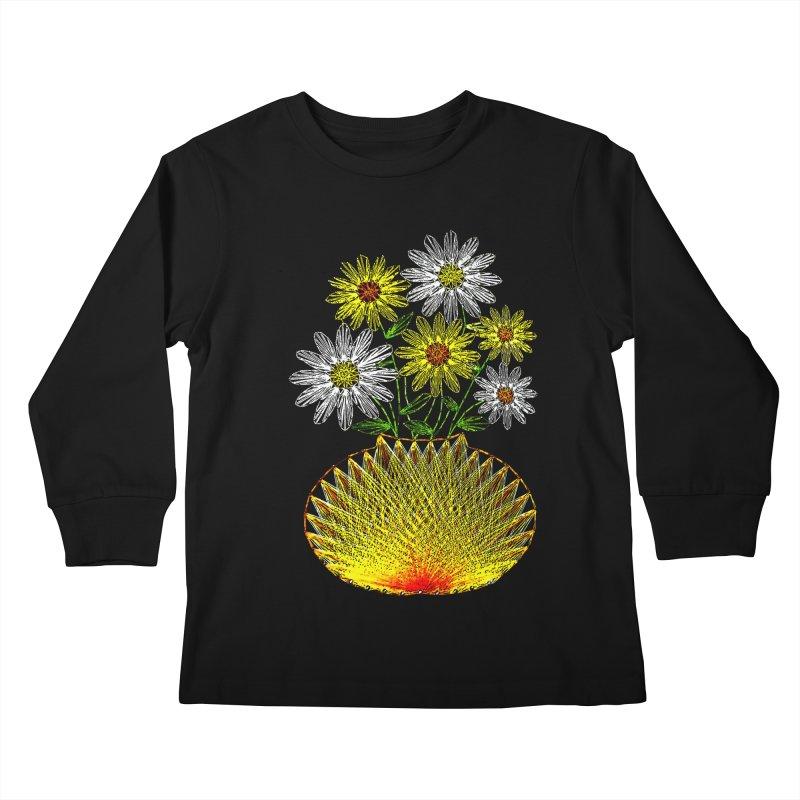String Art Flowers Kids Longsleeve T-Shirt by funkymojo's Artist Shop