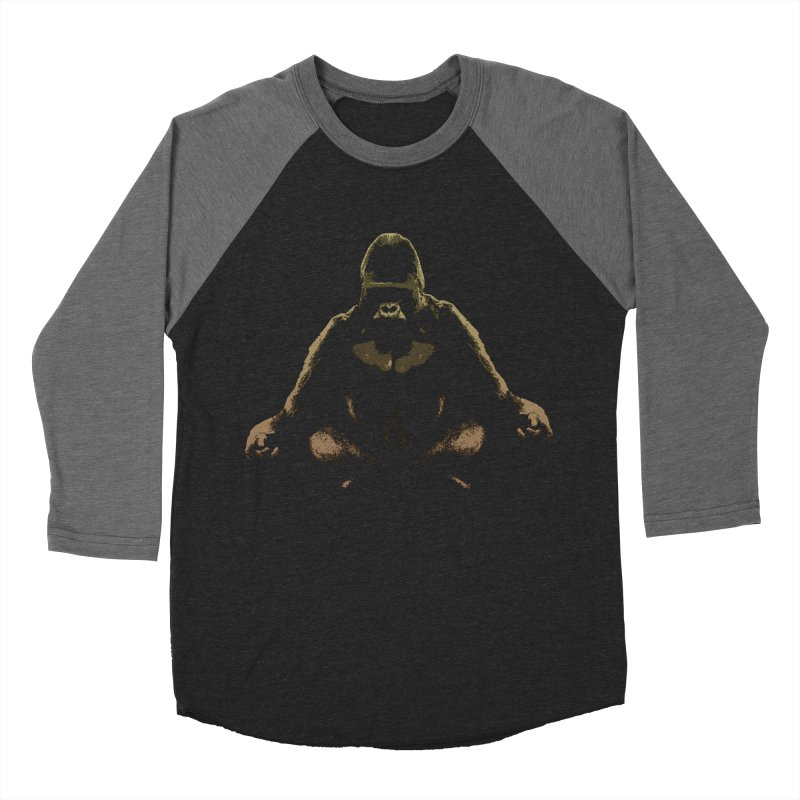 Ape Meditating Men's Baseball Triblend T-Shirt by funkymojo's Artist Shop
