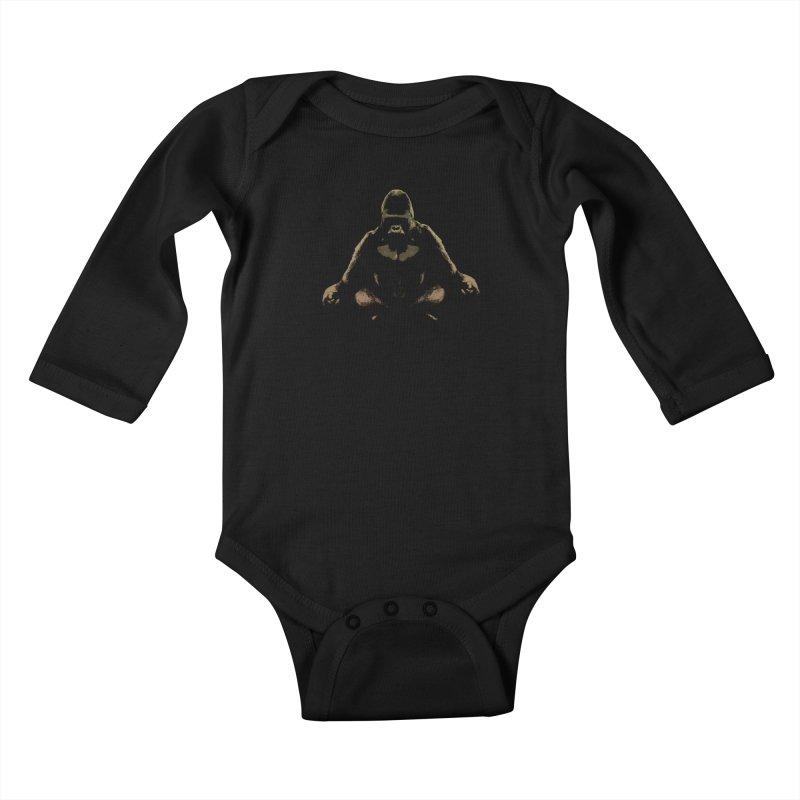 Ape Meditating Kids Baby Longsleeve Bodysuit by funkymojo's Artist Shop