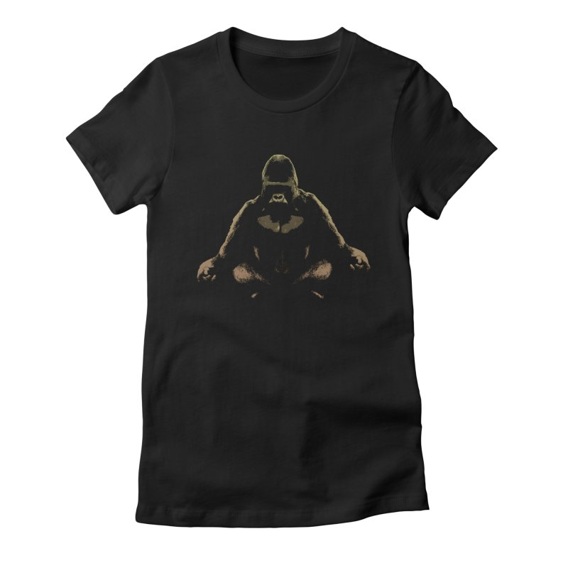 Ape Meditating Women's Fitted T-Shirt by funkymojo's Artist Shop