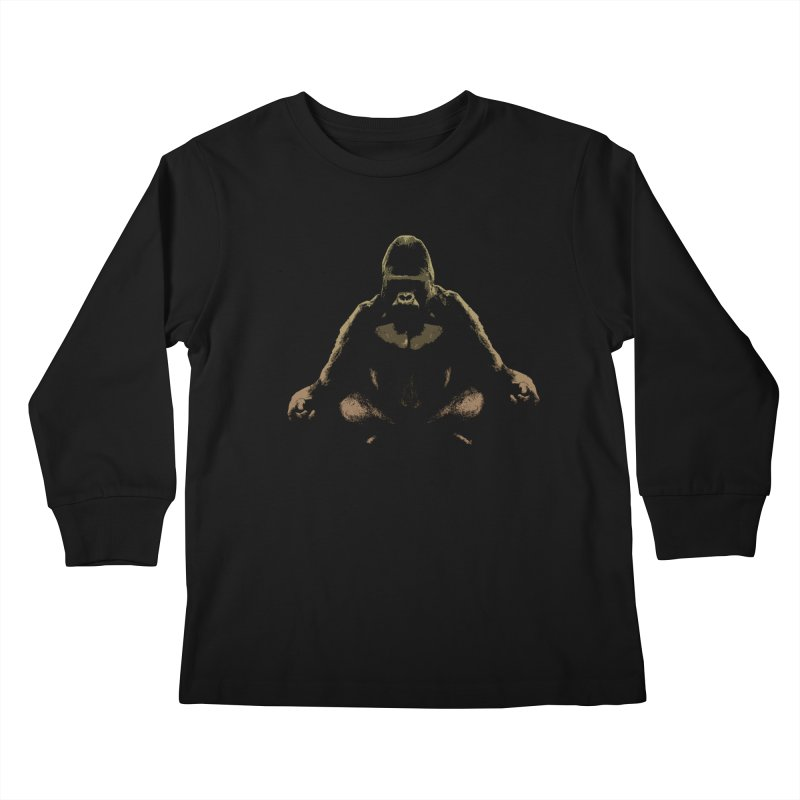 Ape Meditating Kids Longsleeve T-Shirt by funkymojo's Artist Shop