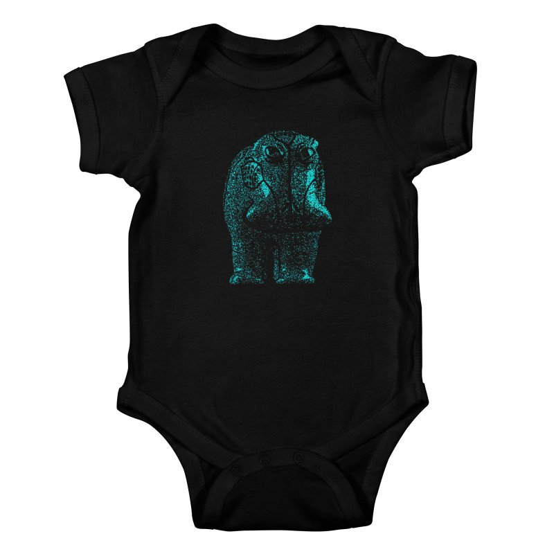 Blue Hippo Kids Baby Bodysuit by funkymojo's Artist Shop