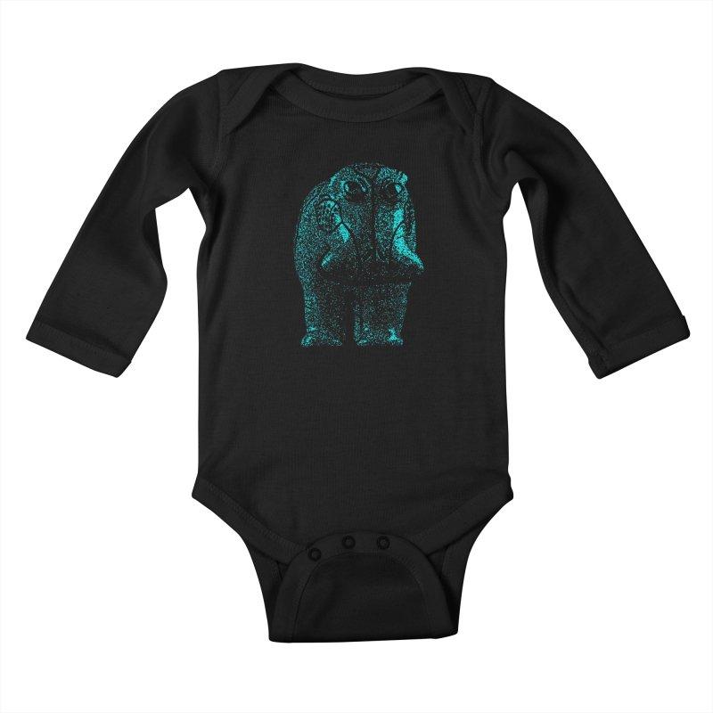 Blue Hippo Kids Baby Longsleeve Bodysuit by funkymojo's Artist Shop