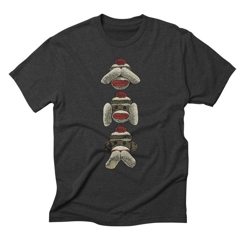 Three Wise Sock Monkeys Men's Triblend T-shirt by funkymojo's Artist Shop