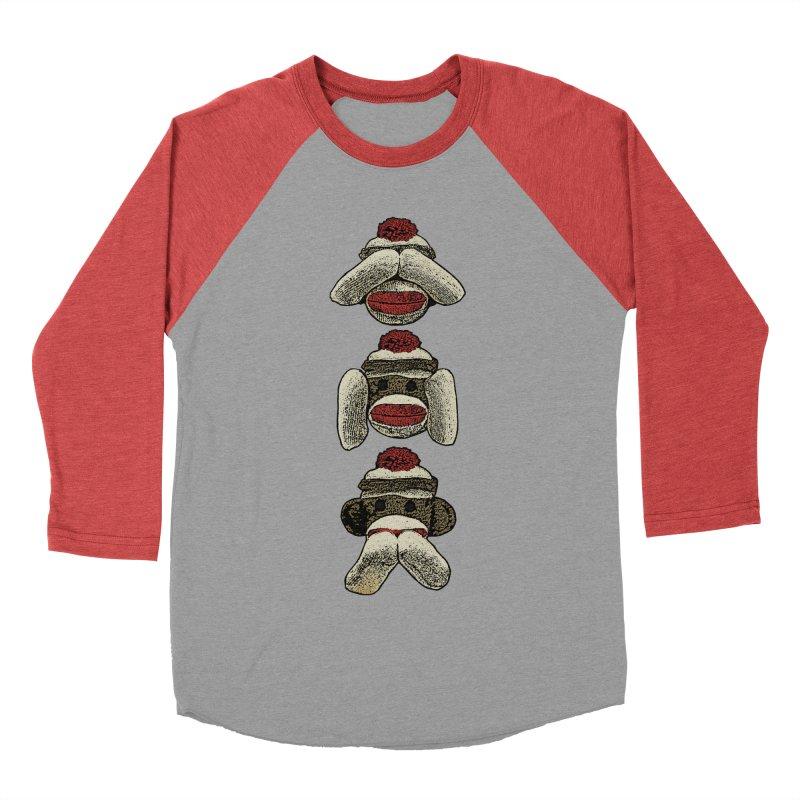 Three Wise Sock Monkeys Women's Baseball Triblend T-Shirt by funkymojo's Artist Shop