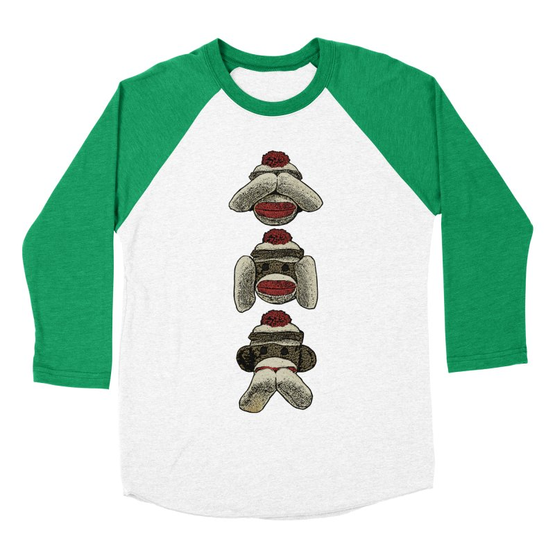 Three Wise Sock Monkeys Men's Baseball Triblend T-Shirt by funkymojo's Artist Shop