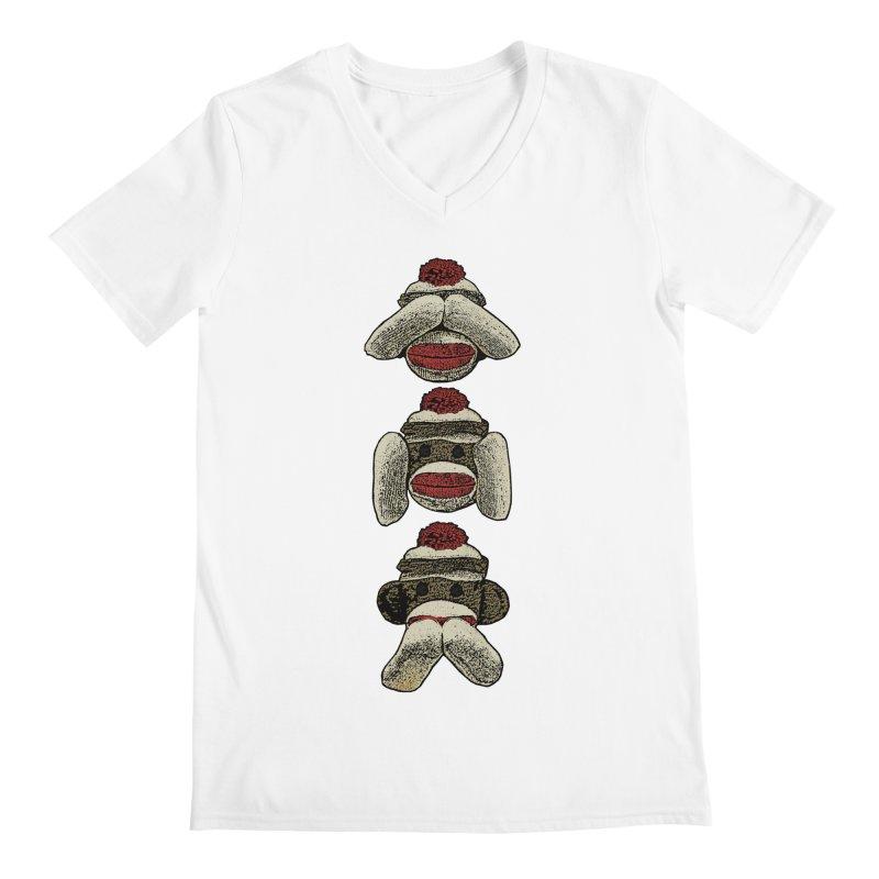 Three Wise Sock Monkeys Men's V-Neck by funkymojo's Artist Shop