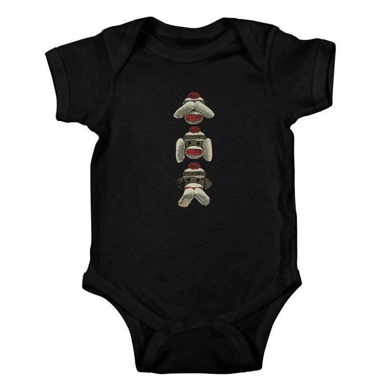 Three Wise Sock Monkeys Kids Baby Bodysuit by funkymojo's Artist Shop