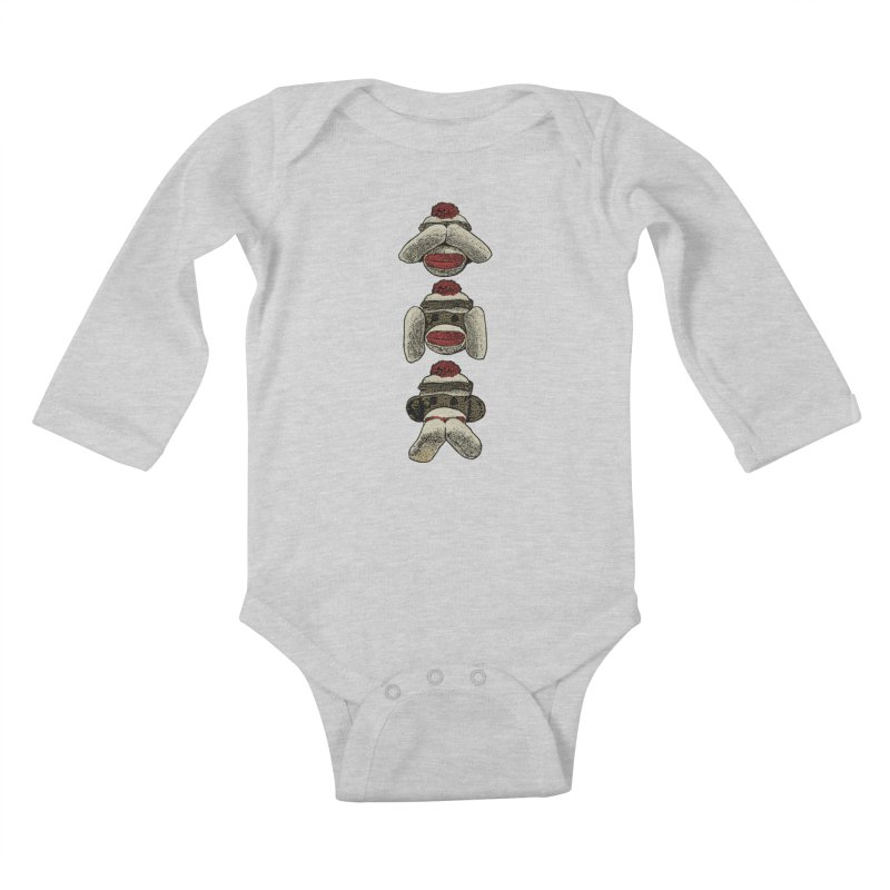 Three Wise Sock Monkeys Kids Baby Longsleeve Bodysuit by funkymojo's Artist Shop