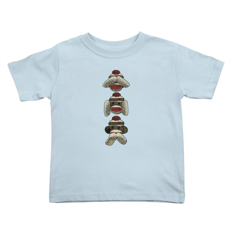 Three Wise Sock Monkeys Kids Toddler T-Shirt by funkymojo's Artist Shop