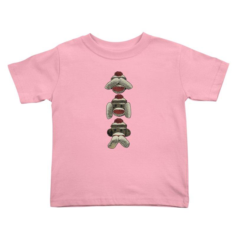 Three Wise Sock Monkeys Kids Toddler T-Shirt by funkymojo's Artist Shop