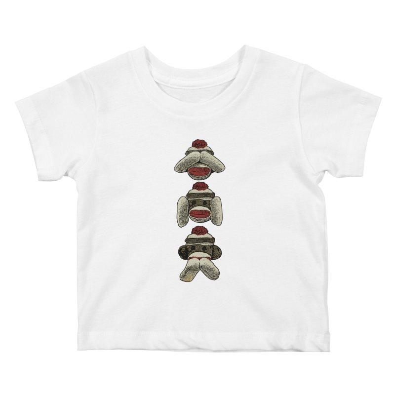 Three Wise Sock Monkeys Kids Baby T-Shirt by funkymojo's Artist Shop