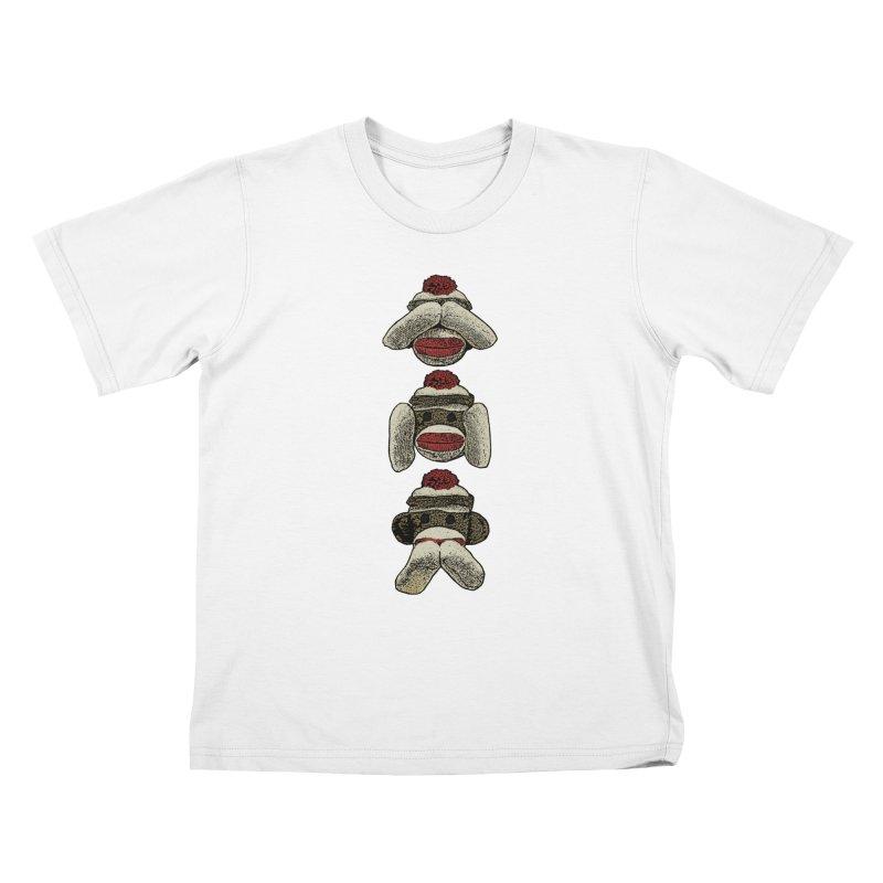 Three Wise Sock Monkeys Kids T-shirt by funkymojo's Artist Shop