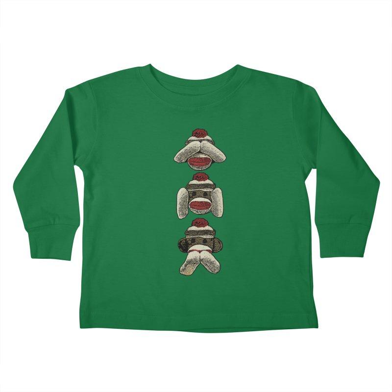 Three Wise Sock Monkeys Kids Toddler Longsleeve T-Shirt by funkymojo's Artist Shop
