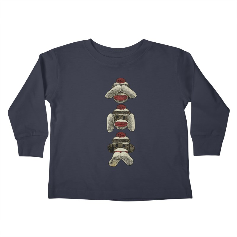 Three Wise Sock Monkeys Kids Toddler Longsleeve T-Shirt by funkymojo's Artist Shop