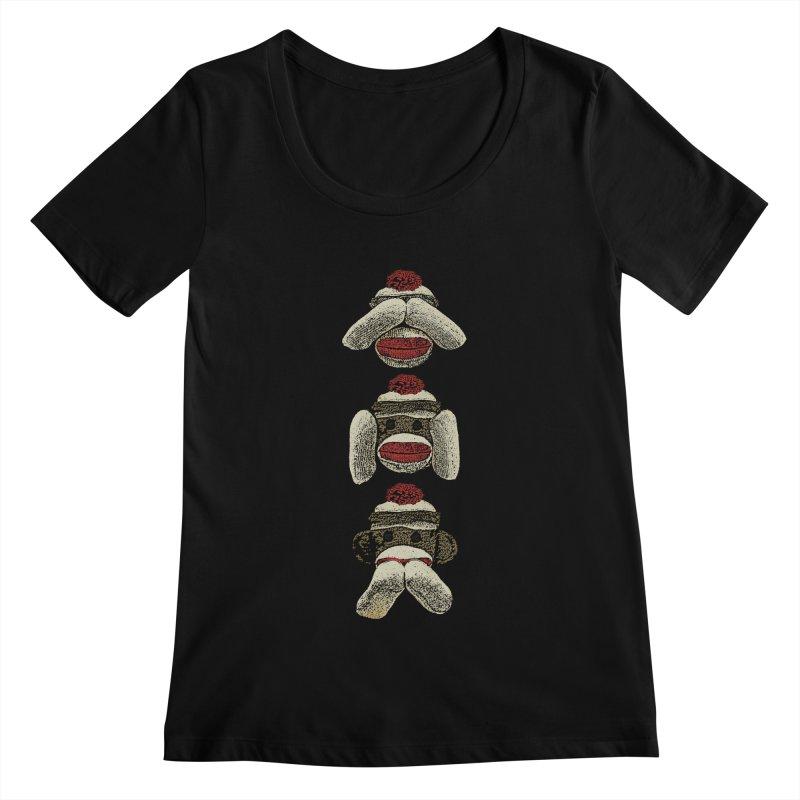 Three Wise Sock Monkeys Women's Scoopneck by funkymojo's Artist Shop