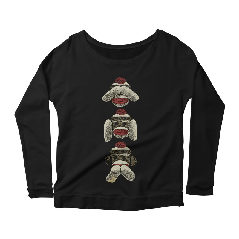 Three Wise Sock Monkeys Women's Longsleeve Scoopneck  by funkymojo's Artist Shop