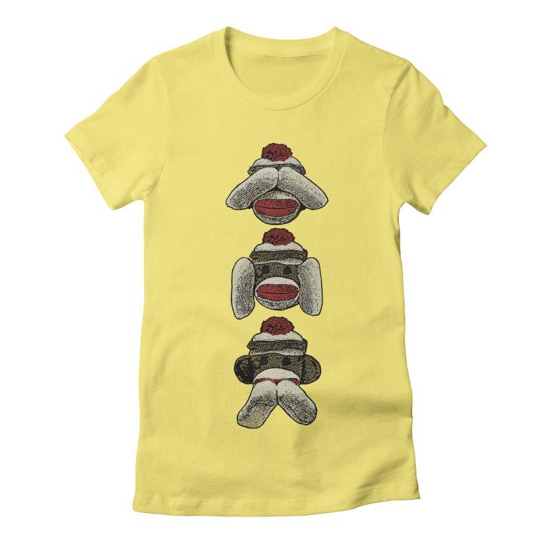 Three Wise Sock Monkeys Women's Fitted T-Shirt by funkymojo's Artist Shop