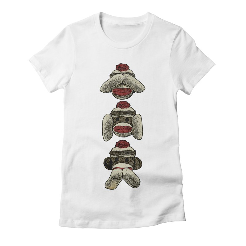 Three Wise Sock Monkeys Women's Fitted T-Shirt by funkymojo's Artist Shop