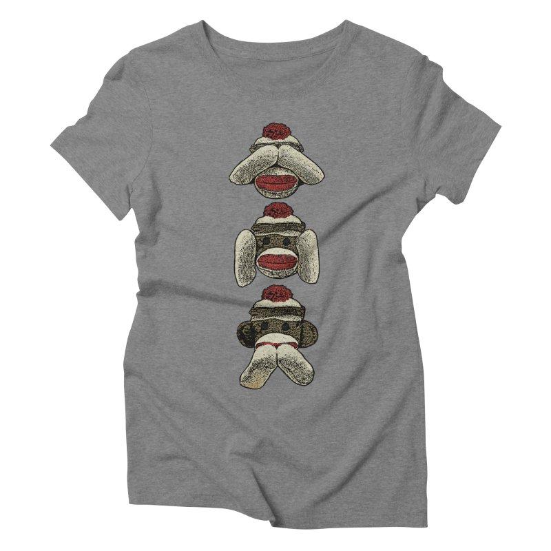 Three Wise Sock Monkeys Women's Triblend T-shirt by funkymojo's Artist Shop