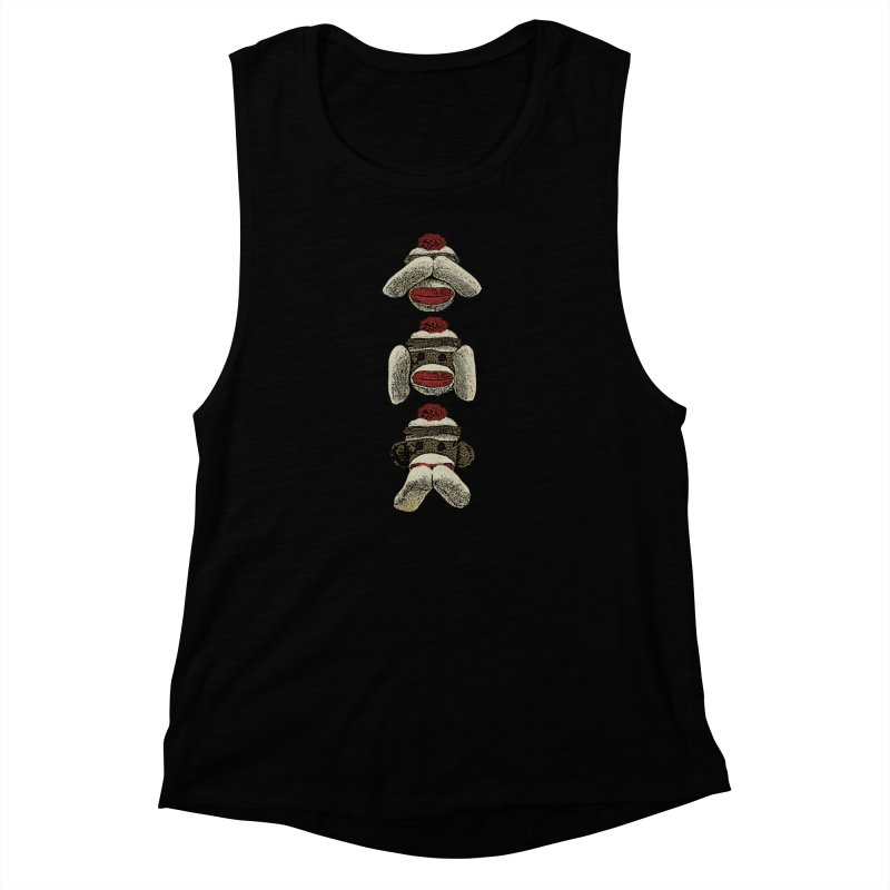 Three Wise Sock Monkeys Women's Muscle Tank by funkymojo's Artist Shop