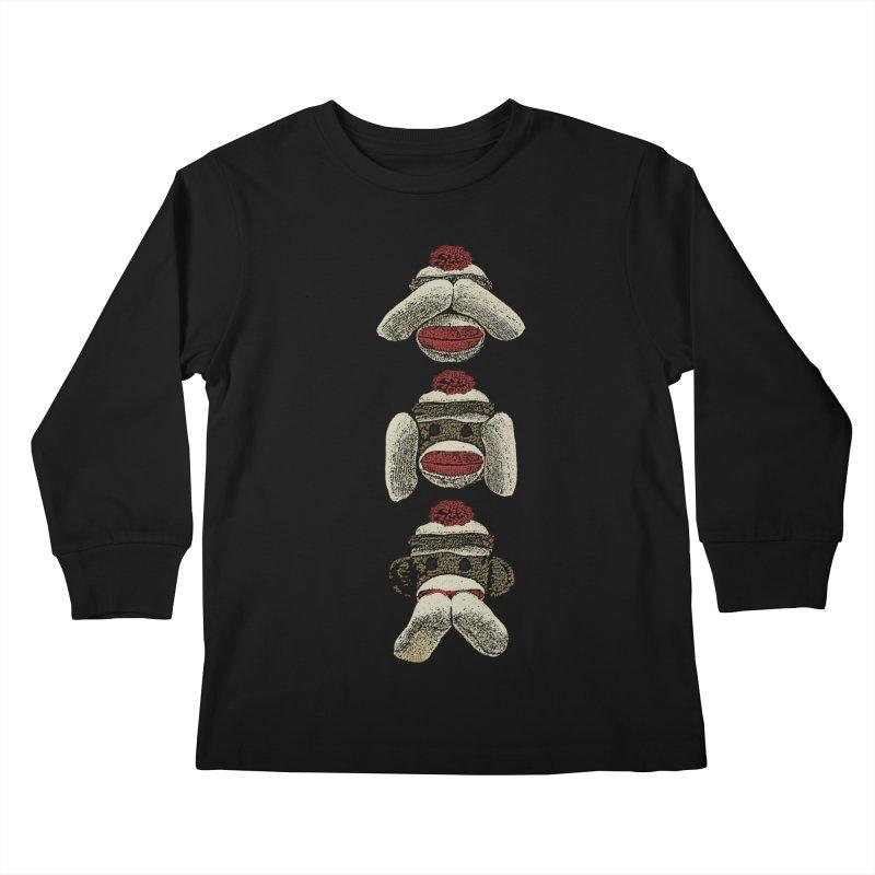 Three Wise Sock Monkeys Kids Longsleeve T-Shirt by funkymojo's Artist Shop