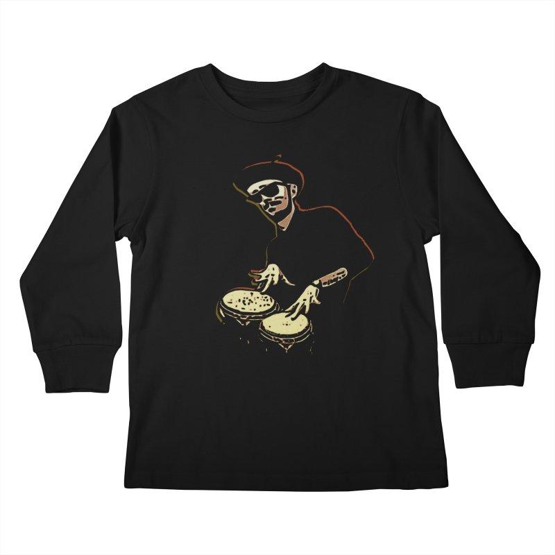 Bongo Beatin' Beatnik Kids Longsleeve T-Shirt by funkymojo's Artist Shop