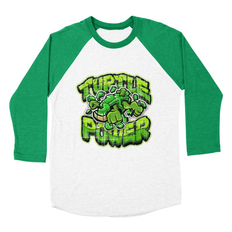 Turtle Power! Women's Baseball Triblend T-Shirt by FunkyTurtle Artist Shop