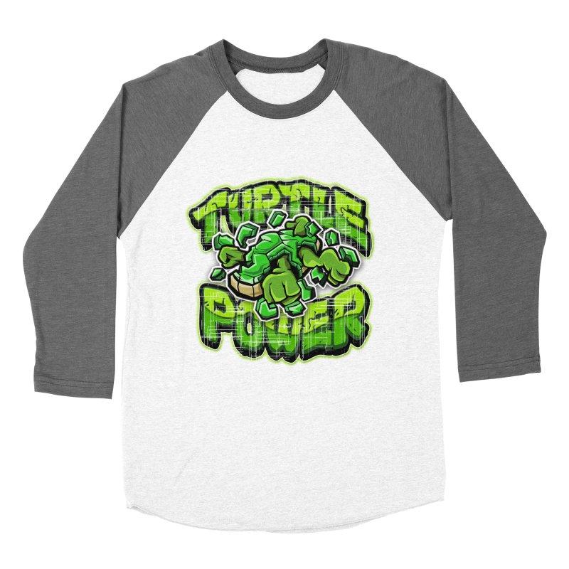 Turtle Power! Men's Baseball Triblend T-Shirt by FunkyTurtle Artist Shop