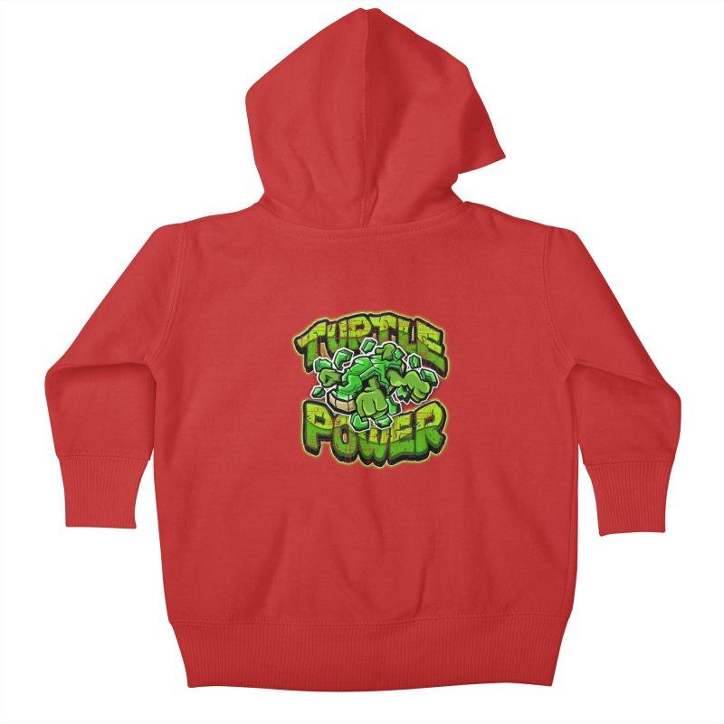 Turtle Power! Kids Baby Zip-Up Hoody by FunkyTurtle Artist Shop
